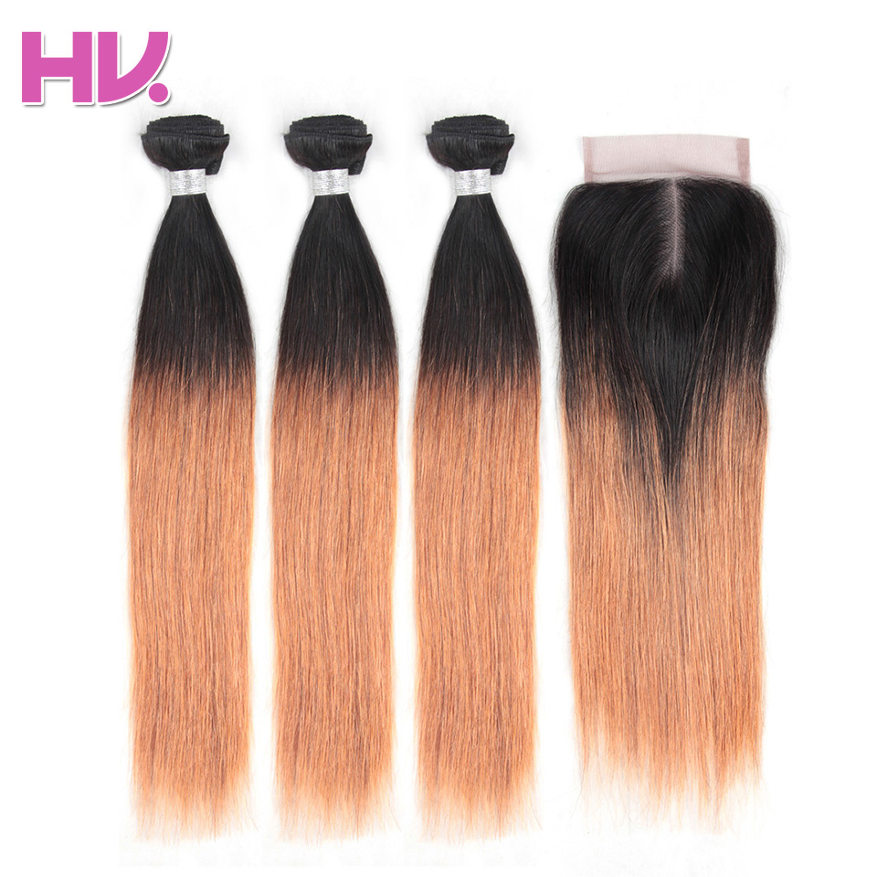 Hair Villa Pre-Colored Brazilian Straight Hair With Closure #1B/30 Non-Remy Ombre Human Hair Extension 4*4 Lace Closure