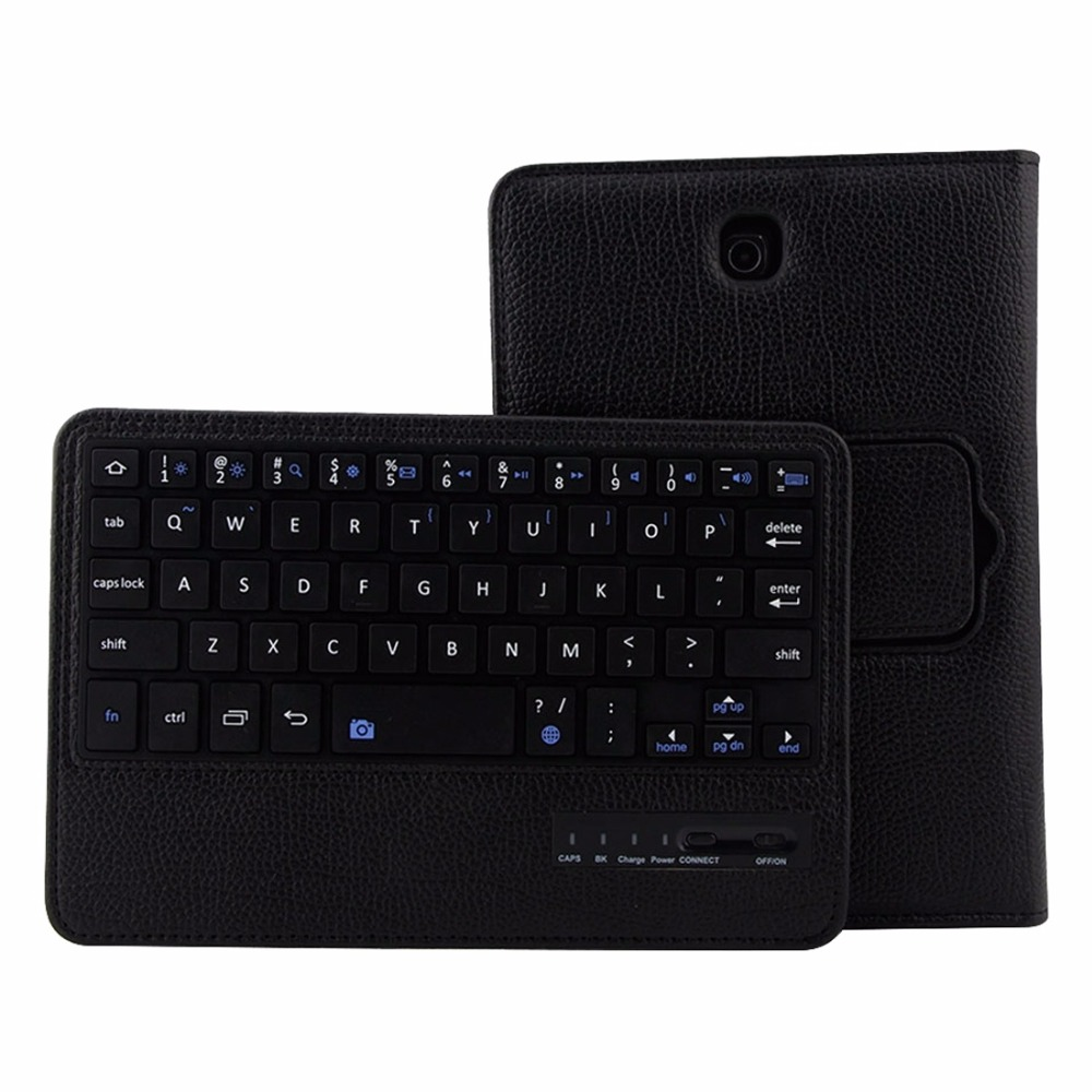2 in 1 Detachable Bluetooth Keyboard Cross Texture Leather Case with Holder for Samsung Galaxy Tab S2 8.0 / T715
