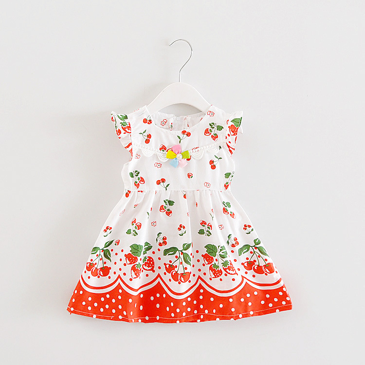 Hot sale 2017 Summer Fashion baby Girls dress Cute Print Pattern Childrens clothes fresh and cool princess dresses kids