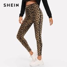 Shein multicolorido casual athleisure leopardo imprimir cintura alta leggings outono moderno senhora highstreet calças femininas