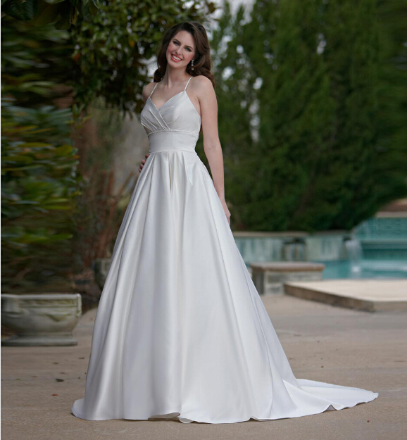 Ruching Wedding Gowns: 2016 Spaghetti Strapless V Neck Wedding Dresses Ruched A