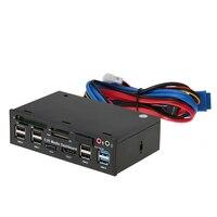 USB 3.0 Hub eSATA SATA Port Internal Card Reader PC Dashboard Media Front Panel Audio for SD MS CF TF M2 MMC Memory Cards Fits