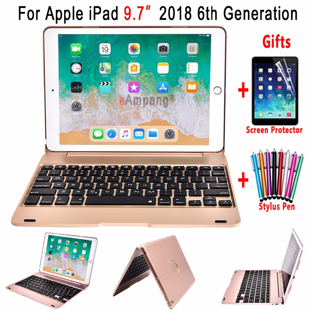 Smart Flip Cover for Apple New iPad 9.7 2018 6 6th Generation A1893 A1954 Wireless Bluetooth Keyboard Case + Screen Protector