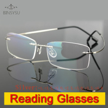 Rimless memory titanium flexible eyeglasses magnifying Lens Silver Reading Presbyopic glasses +1.0 +1.5 +2.0 +2.5 +3.0 +3.5 +4.0