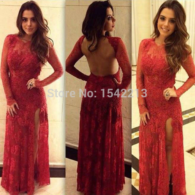 7cff50283c New Fashionable Dark Red Lace Dress Prom Long Sleeves Open Back Sexy  Evening Party Gowns Vestido De Renda 2017 side split