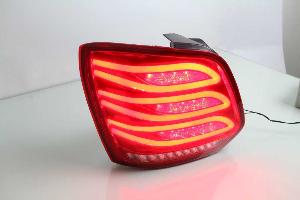eOsuns led rear tail light assembly for volkswagen vw polo 2013-16, drving light+ brake light+ reverse light+ moving turn signal for vw volkswagen polo mk5 6r hatchback 2010 2015 car rear lights covers led drl turn signals brake reverse tail decoration