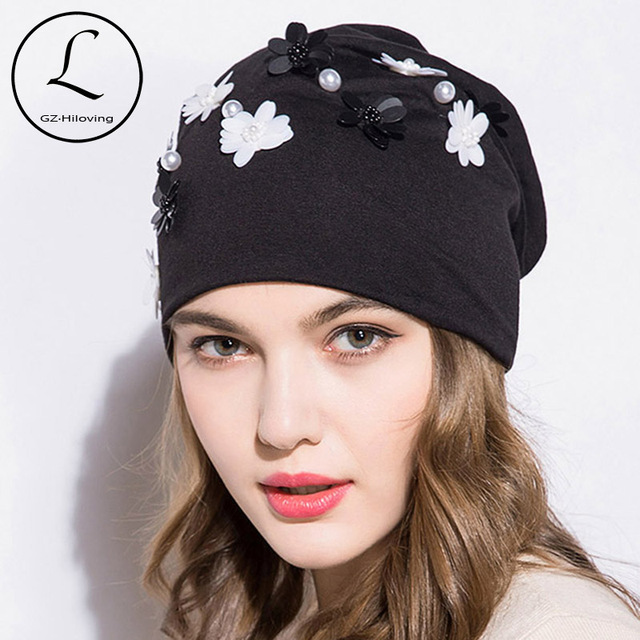 109ad0fc99d88 GZHILOVINGL 2018 New Spring Winter Women Ladies Solid Color Skullies And Beanies  Womens Girls Slouchy Pearl Flower Beanies Hat