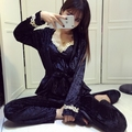 yomrzl A346 new arrival spring and autumn women's pajama set 3 piece deep-v sleep set long sleeve sleepwear