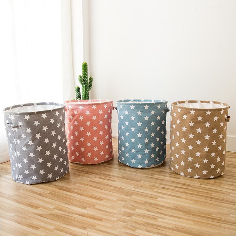 Foldable Canvas Laundry Basket Bag Star Pattern Storage Basket Kids Toys Storage Bucket Dirty Clothes Organizer Cantanier