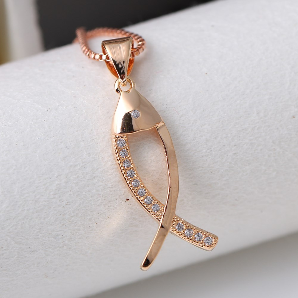 New simple style fashion hollow small fish sweet zircon charm woman pendant Wedding engagement jewelry Angel baby gift shipping thumbnail