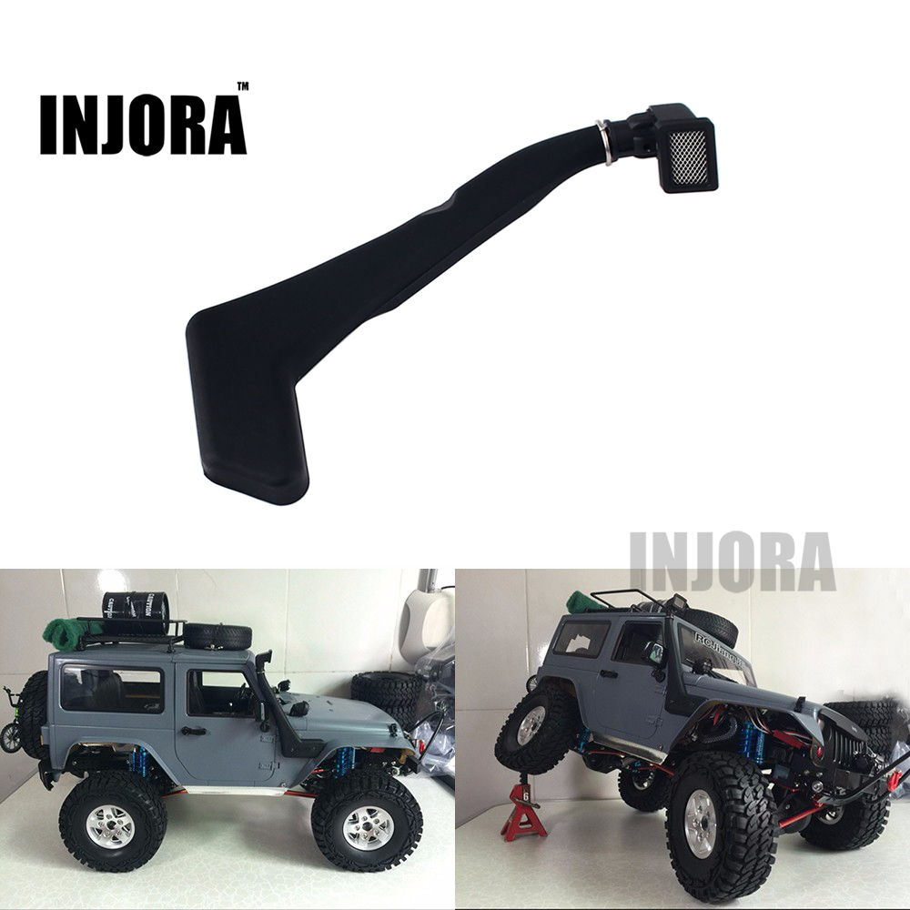 INJORA 1:10 RC Crawler Black Soft Rubber Snorkel For Axial SCX10 D90 Jeep Wrangler Body Shell