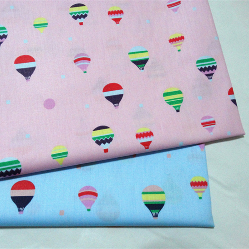 100x160cm Pretty Pink Blue Colorful hot air balloon Printed Cotton Fabric For DIY Sewing Quliting Bedding Decoration