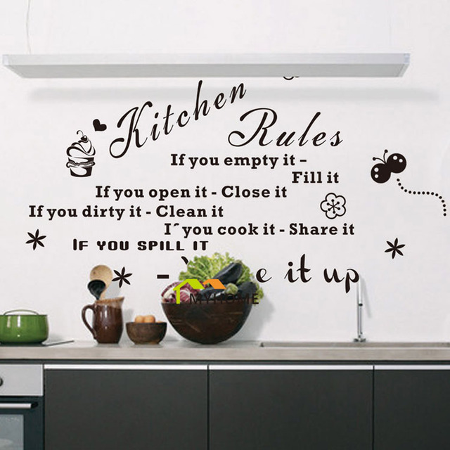 Kitchen Letters For Wall Kitchen Rules If You Empty It Fill It Quotes Wall Decals Black