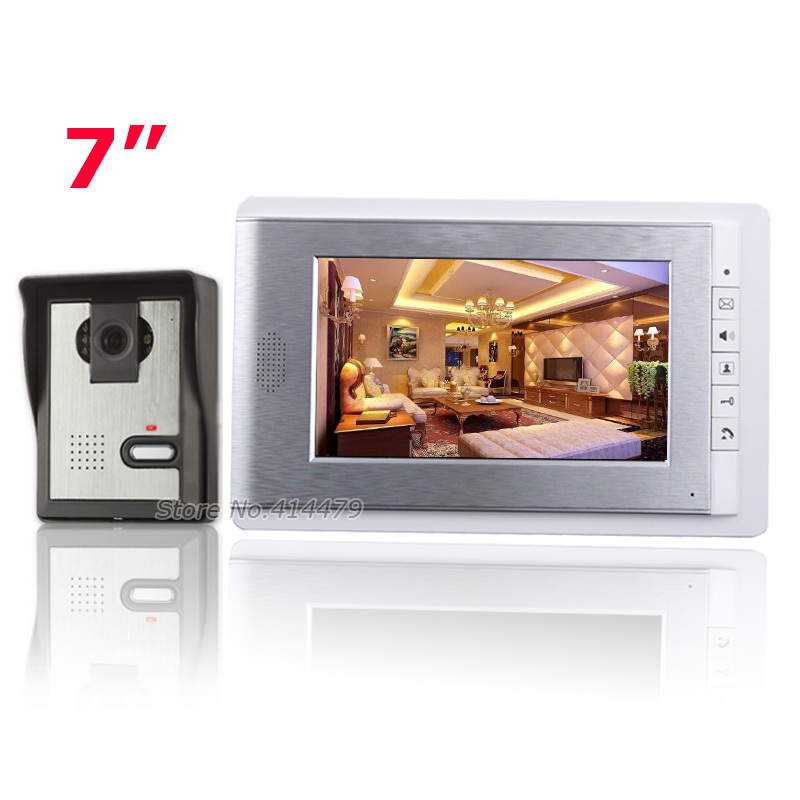 Home 7 inch LCD Color Video doorphone Speakerphone Intercom Access Control System IR Weatherproof Camera