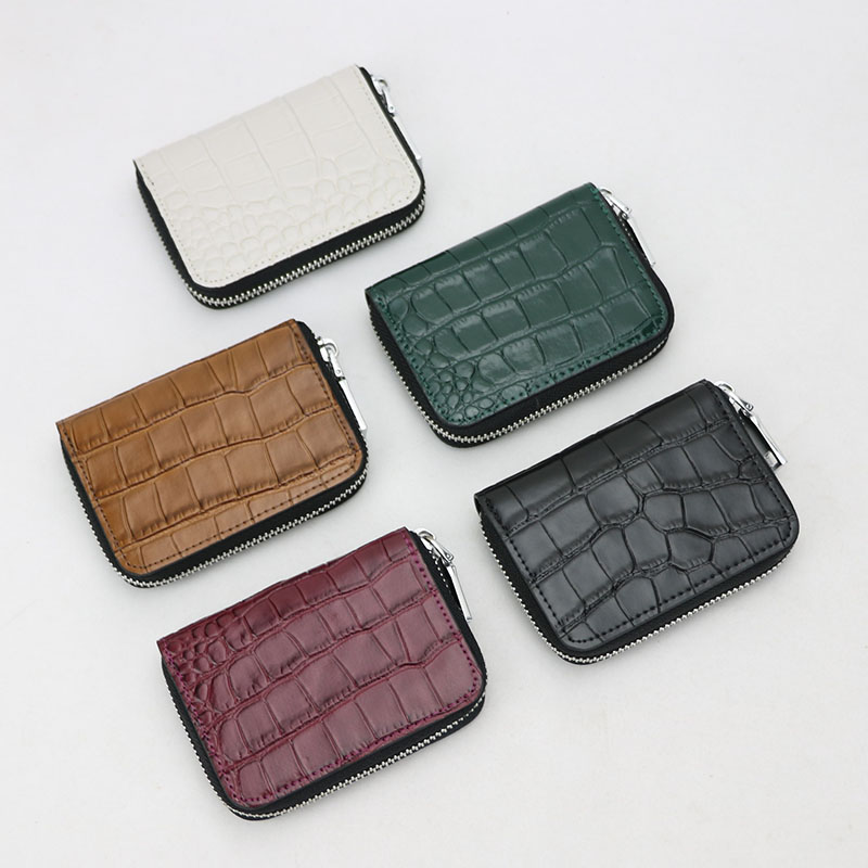 Crocodile Pattern Leather Accordion Card Holder Wallet Men Multi Pockets Credit Card Purse Women Business Card Case Small Purse