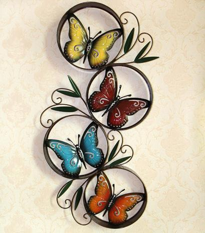 Butterfly circles round metal wall art decor sculpture for Plaque metal decorative pour jardin