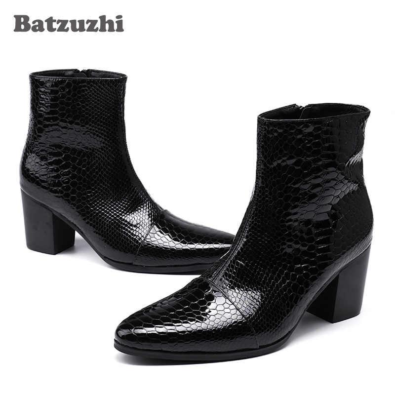 Batzuzhi 7 CM Yüksek Topuklu Erkek Botları Yakışıklı Siyah yarım çizmeler Erkekler için Düğün ve Parti zapatos de hombre Botas, boyutu EU38-46