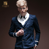 Free Shipping New fashion male slim casual Autumn new men's jacket coat blue tide 14025 original personality on sale fanzhuan