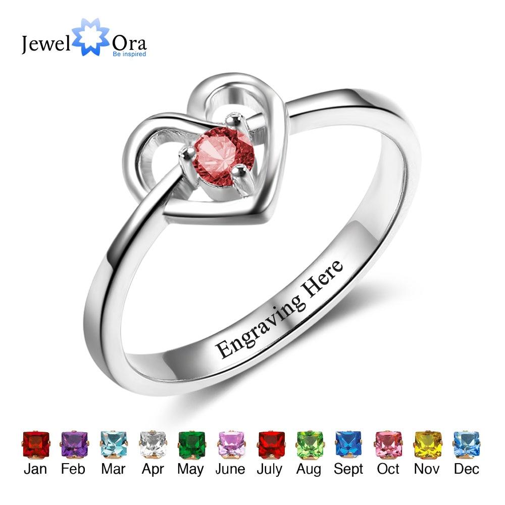 Promise Engagement Rings DIY Custom Birthstone Engrave Name Love Heart Rings For Women Free Gift Box (JewelOra RI102498)