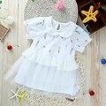 Algodón Del Bebé Vestidos de Las Muchachas del Verano Vestidos de Encaje Princesa Ropa Infantil prendas de Vestir Exteriores Del Niño Floral Lolita Ropa Caliente Ropa de Bebé