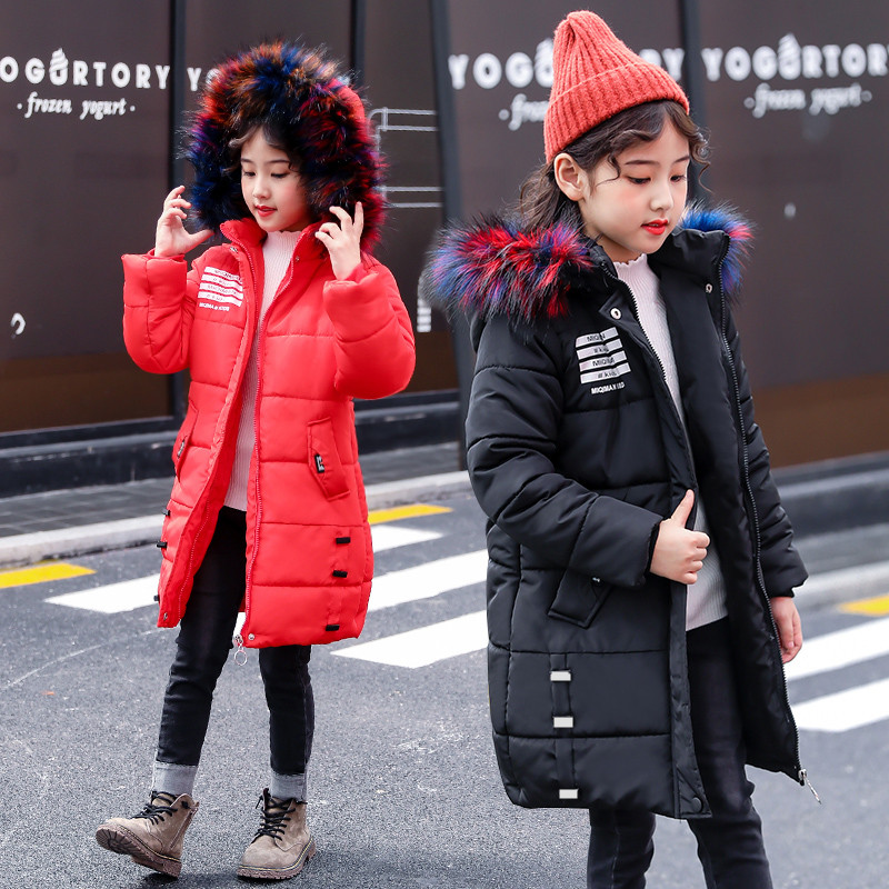Children Winter Jacket Girl Winter Coat Kids Warm Parka Thick Colored Fur Collar Hooded Long Down Coats For Teenage6 8 10 12 14 teen girl winter coat parka long down puffer hooded fur collar children winter jacket kids thick clothes for 6 8 10 12 14 years