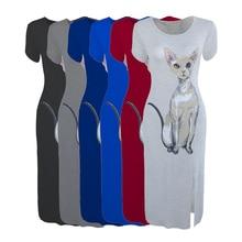 купить Nevettle Women Cat Print Side Split Long Dress Summer Short sleeve Modal Cotton Dresses по цене 715.79 рублей