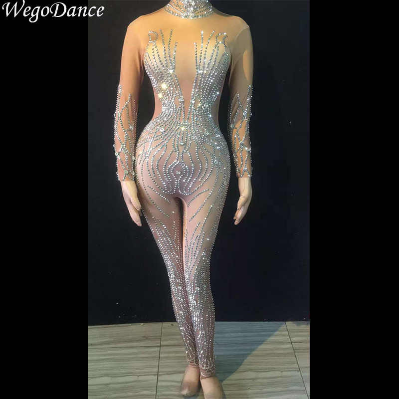 Новый комбинезон с блестящими кристаллами телесного цвета, костюм из стрейчевых камней, яркие Стразы, боди, костюм певицы на день рождения