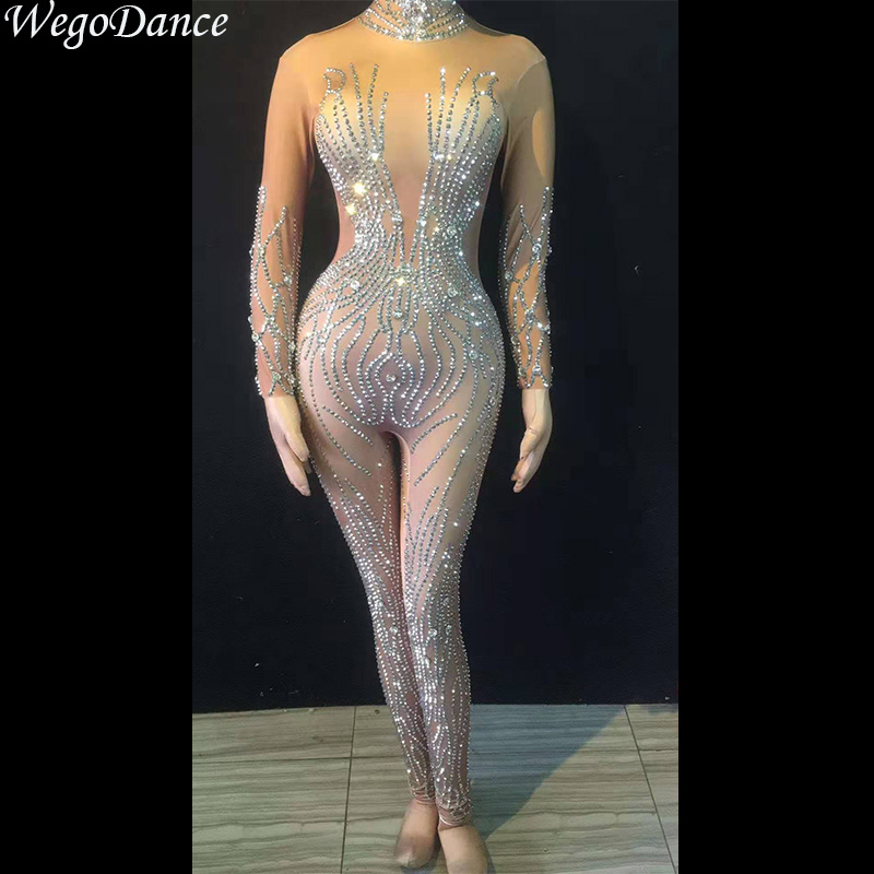 New Sparkly Crystals Nude Jumpsuit Stretch Stones Outfit Celebrate Bright Rhinestones Bodysuit Costume Female Singer Birthday