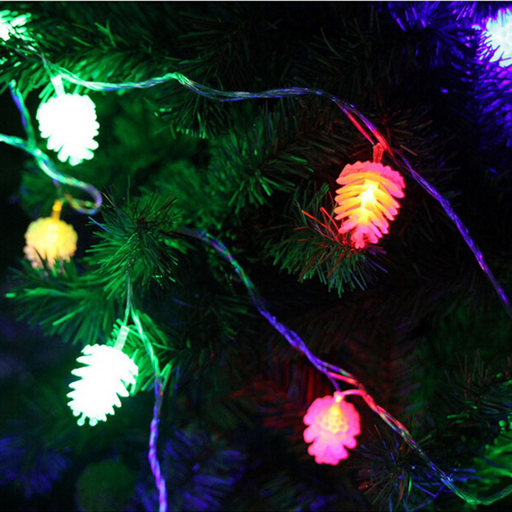 2m 20 Led Bulbs Portable Battery Operated String Light Christmas Pinecone Supplies Party Lights New Year Decoration For Home In Pendant Drop Ornaments