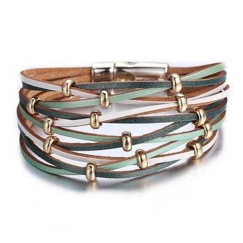 Women's Gold Leather Bracelet Bracelets Jewelry New Arrivals Women Jewelry Metal Color: FCS114260