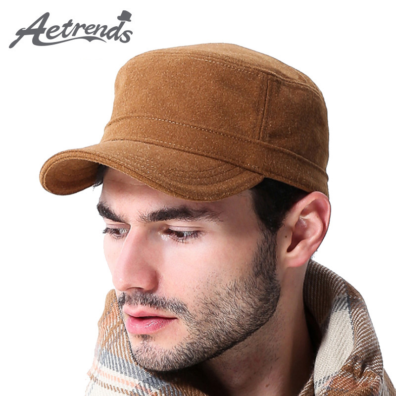 [AETRENDS] Winter Suede Hats for Men   Baseball     Cap   Men's   Cap   Bone Trucker Outdoor Fitted Flat   Caps   Vintage Russia Z-1914