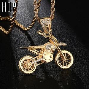 Image 2 - HIP Hop pełna AAA Iced Out Bling CZ Cubic cyrkon miedź fajne motocyklowe wisiorki i naszyjniki dla mężczyzn biżuteria hurtowych