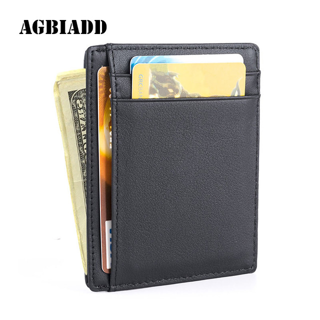 AGBIADD Front Pocket Wallet Minimalist Wallets Genuine Leather Slim RFID Blocking Card Wallet Men's Card Holder Drop Shipping