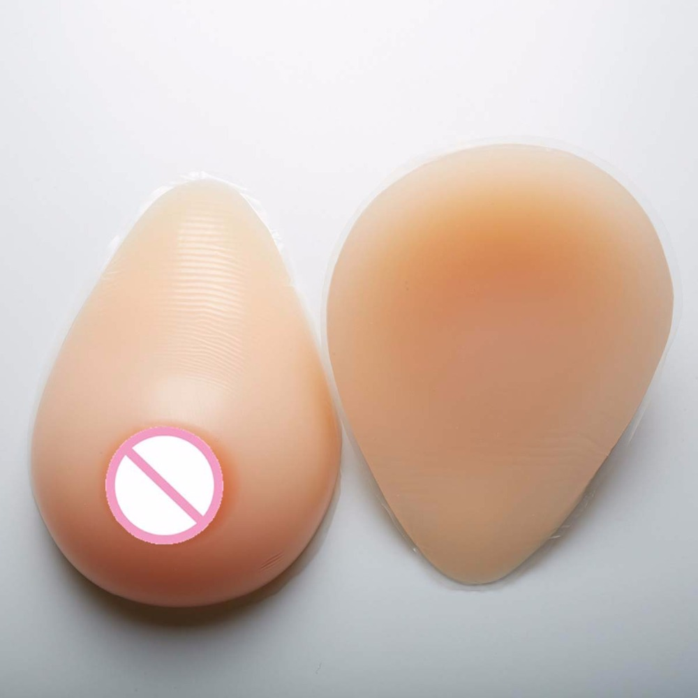 Buy 500g/pair Cup Beige realistic silicone breast forms mastectomy Bra Boobs tits fake nipples prosthesis crossdresser Shemale