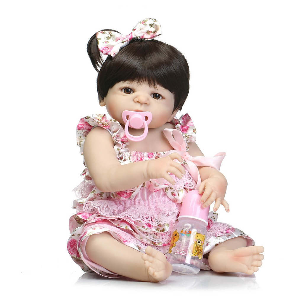 22 Inch Doll Reborn Full Vinyl Babies Doll for Girls 55 CM Realistic Soft Alive Reborn Baby Doll for Kids Playmate