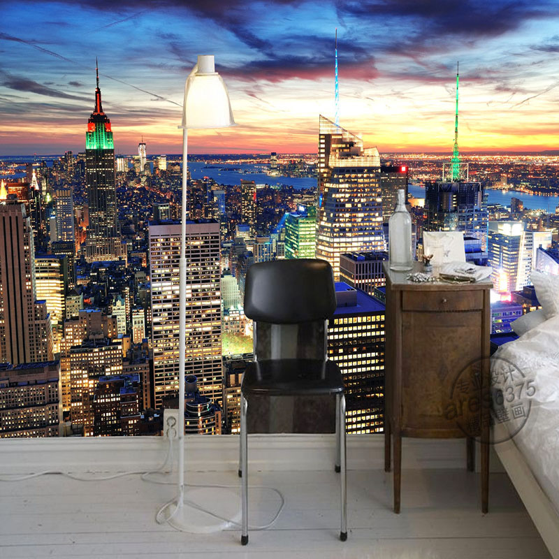 New York City Night Photo Wallpaper Modern Wall Mural