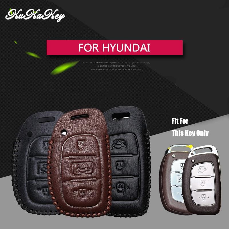Remote Car Key Case Cover For Hyundai IX25 IX35 I20 I30 I40 hb20 Santa Fe Creta Solaris 2017 Genuine Leather 3 Buttons Key Shell xinyuexin car key case cover silicone for hyundai elantra solaris 2016 2017 2018 3 buttons folding remote key shell