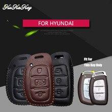 Remote Car Key Case Cover For Hyundai IX25 IX35 I20 I30 I40 hb20 Santa Fe Creta Solaris 2017 Genuine Leather 3 Buttons Key Shell цена 2017