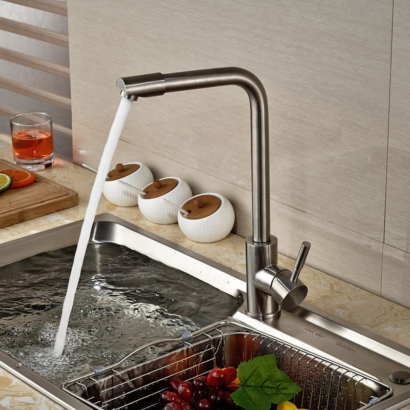 ФОТО Luxury Brushed Nickel Kitchen Hot Cold Water Faucet Single Lever One Hole Kitchen Mixer Taps