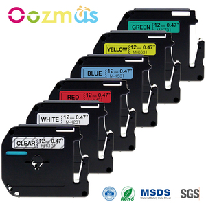 Oozmas 6pcs MK131 P touch Tape 12mm Compatible for Brother Label Printer Ribbon M-K131 M-K231 M-K431 M-K531 M-K631 M-K731 M Tag