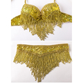 Stage Performance Luxury Belly Dance 3 Pcs Costume Bra&belt&necklace 34b/c 36b/c 38b/c Gold&silver 2 Colours