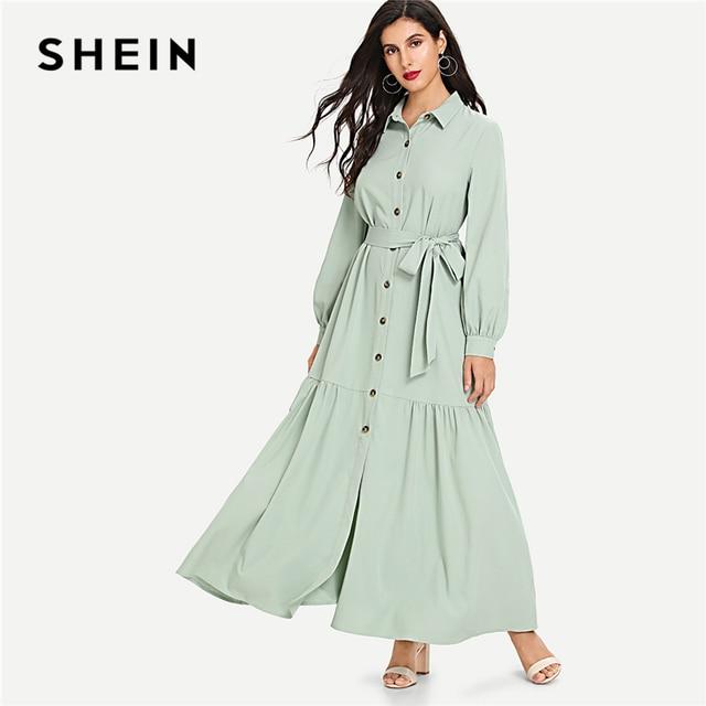 95d55c5fbe SHEIN Green Minimalist Highstreet Ruffle Hem Button Up Belted Office Lady  Stand Collar Autumn Abaya Women