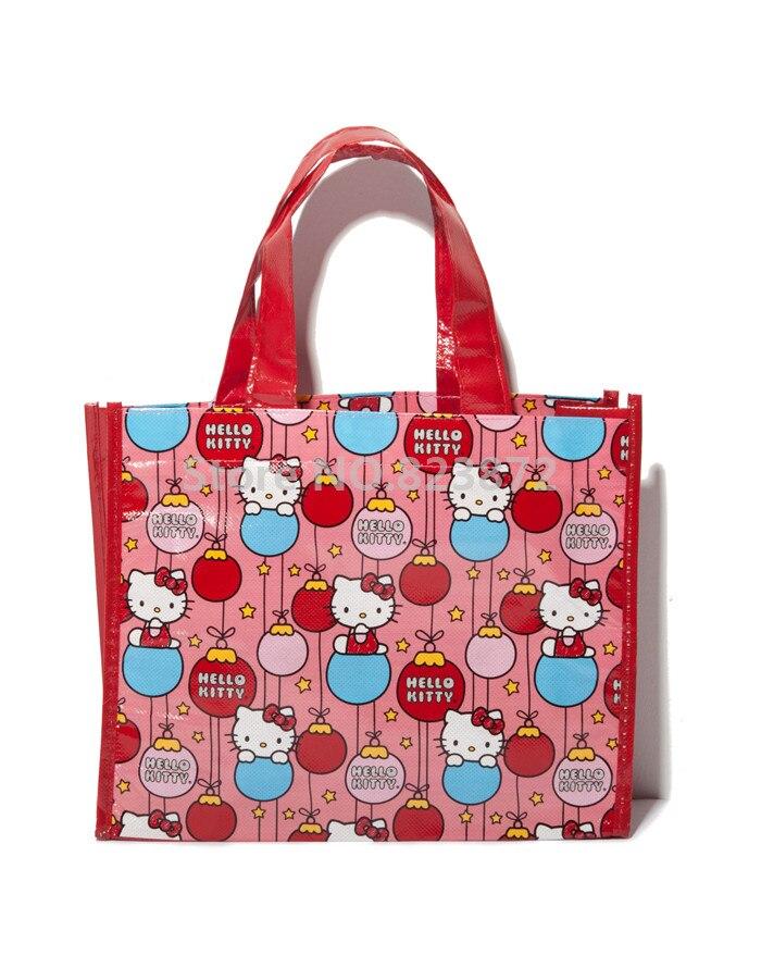 Cartoon Hello Kitty Cat Plastic Woven Bag Red Tote Handbag Eco Reusable  Shopping Bag Girls School Book Gifts Bags 2 PCS Lot 31b2f1eaa406e