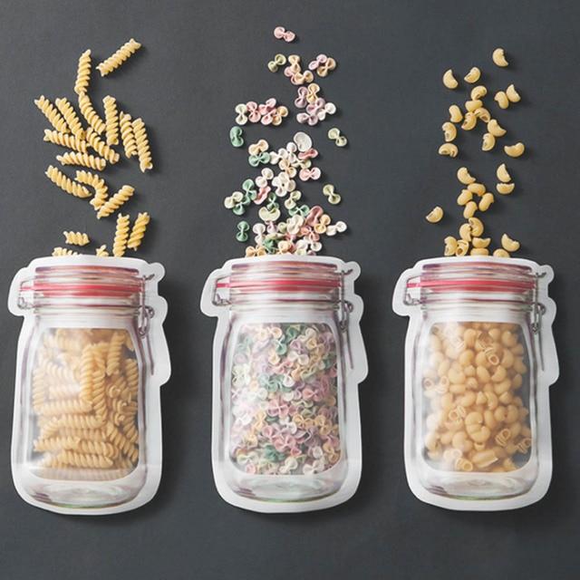 Mason Jar Shaped Food Container Plastic Bag Clear Mason Bottle Modeling Zippers Storage Snacks Plastic Box Wholesale 1
