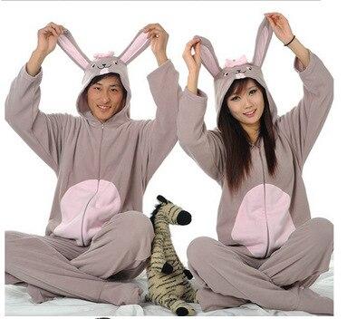 Adult Unisex Gray Rabbit Anime Cartoon Cosplay Costume Jumpsuits Cute Cuddly Loves Cartoon Casual Homewear Pajamas