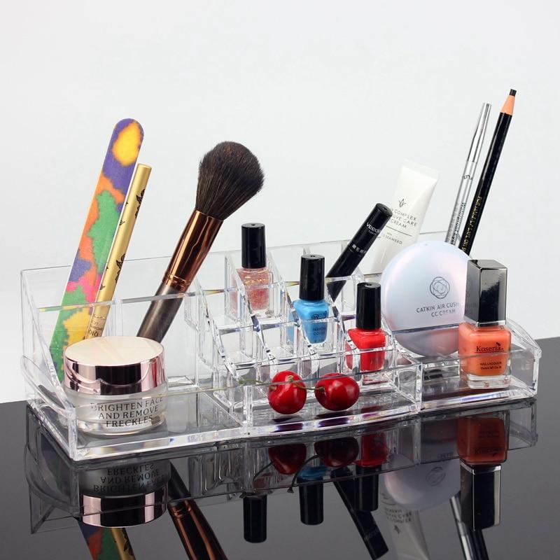 Long lipstick seat cosmetic storage box acrylic transparent crystal lipstick eyeliner pencil box desktop makeup organizer