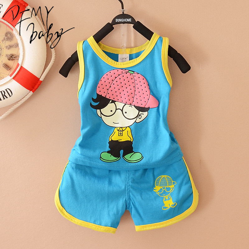 4M-9M Baby Boy Clothes Suit Cotton Summer Child Cartoon kids clothing Set Vest Girls