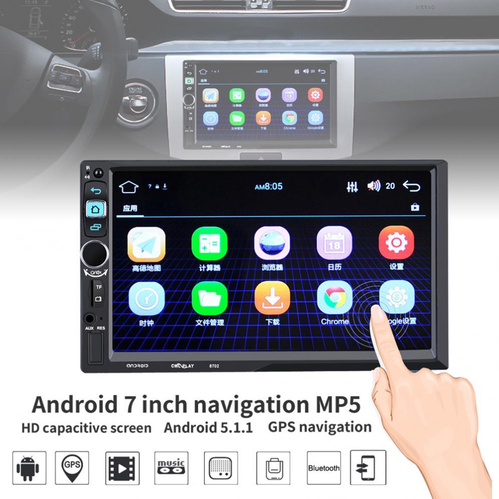 7 pouces 2 Din intégré WIFI Bluetooth Android 5.1 ROM 16G RAM 1G HD voiture stéréo MP5 lecteur Support GPS/WiFi/caméra de recul