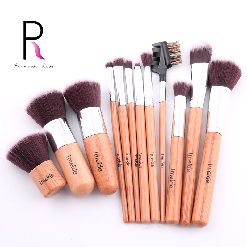 Princess Rose Professional 12pcs Bamboo Makeup Brushes Make Up Brush Set + Bag Kit Pinceis Pincel Maquiagem Brochas Maquillaje aquarium liquid glitter brush set mermaid makeup brushes bling bling glitter handle make up brush kit pincel sereia maquiagem