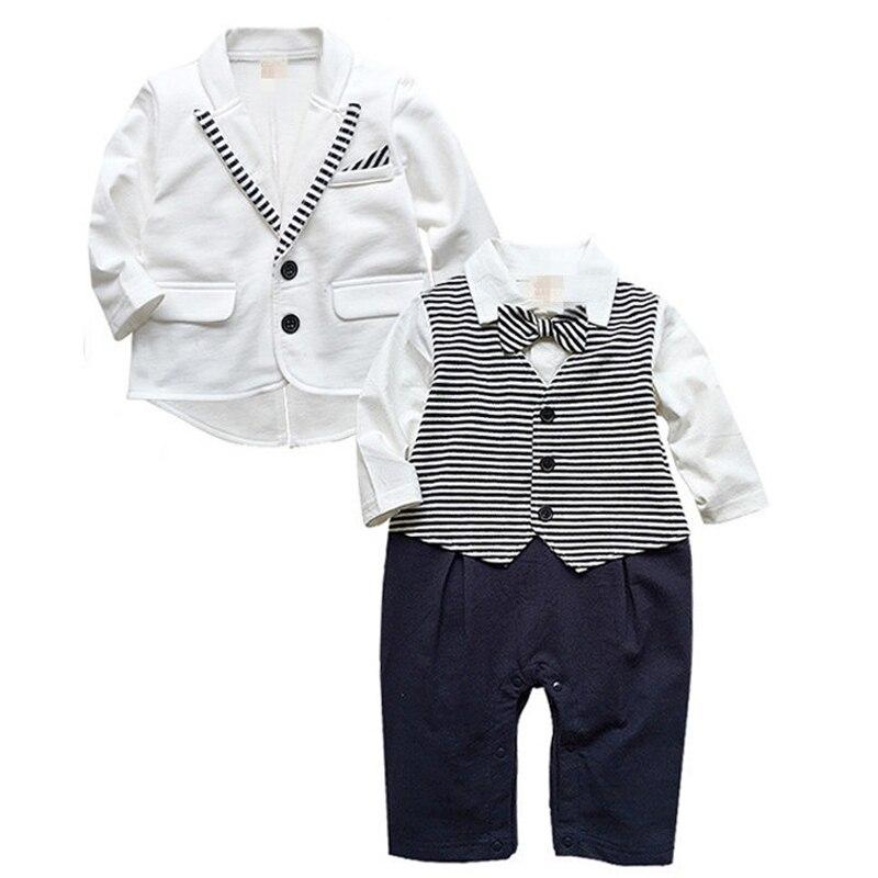 Для маленьких мальчиков одежда маленький джентльмен галстук-бабочка ползунки + пальто 2 предмета Комплект одежды для маленьких мальчиков Roupas Bebe осень 2017 г. одежда для маленьких мальчиков
